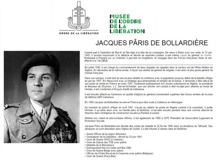 Jacques de Bollardière, le général  qui refusa la torture