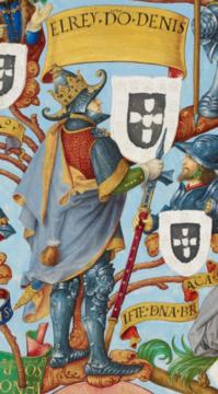 Le roi Denis Ier, enluminure issue de la Généalogie des rois de Portugal.