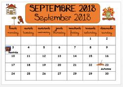 La date et le calendrier 2018/2019