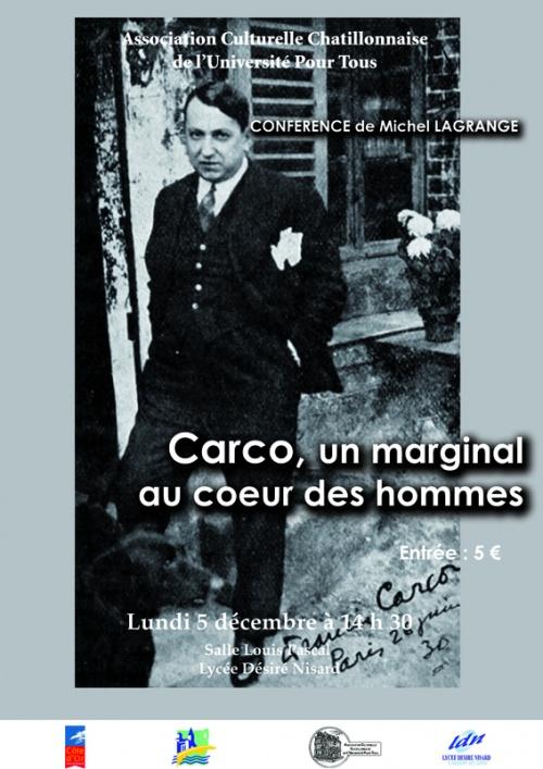 Une conférence de Michel Lagrange sur Francis Carco...