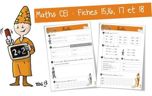 """Maths CE1 : Fiches """"Bis"""" 15,16,17 et 18 - Bout de gomme"""