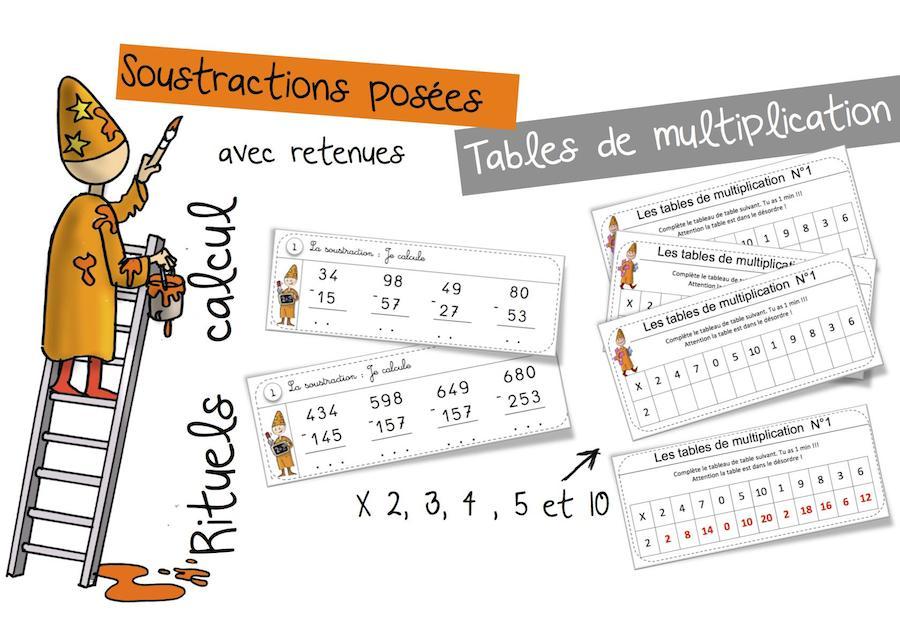 Rituels soustractions pos es avec retenue et tables de - Soustraction sans retenue ce2 ...
