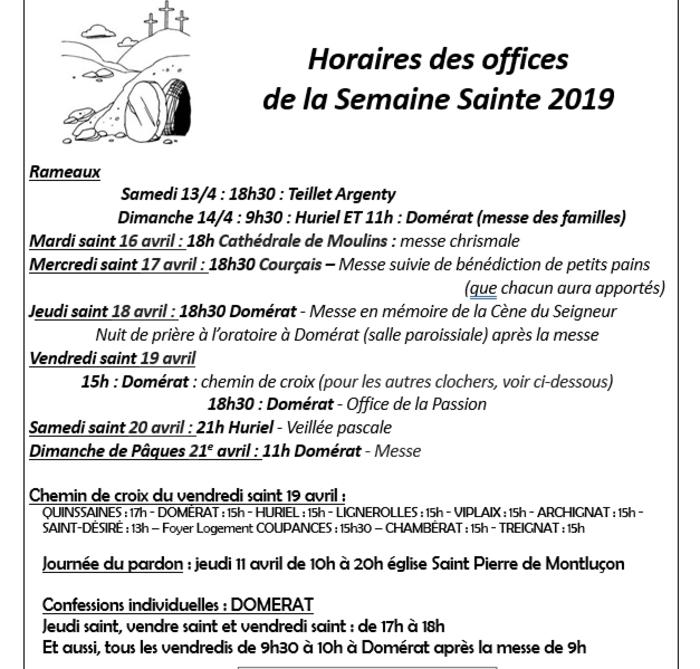 horaires des offices Semaine Sainte