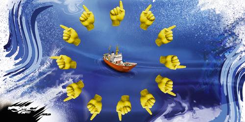 dessin de JERC et AKAKU du mercredi 26 septembre 2018 caricature solidarité européenne La France, pays des droits de l'OM www.facebook.com/jercdessin @dessingraffjerc