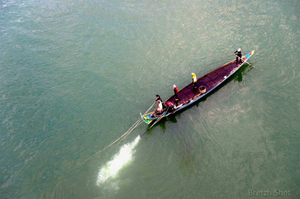 Pêche à la senne sur le Mékong à Kampong Cham