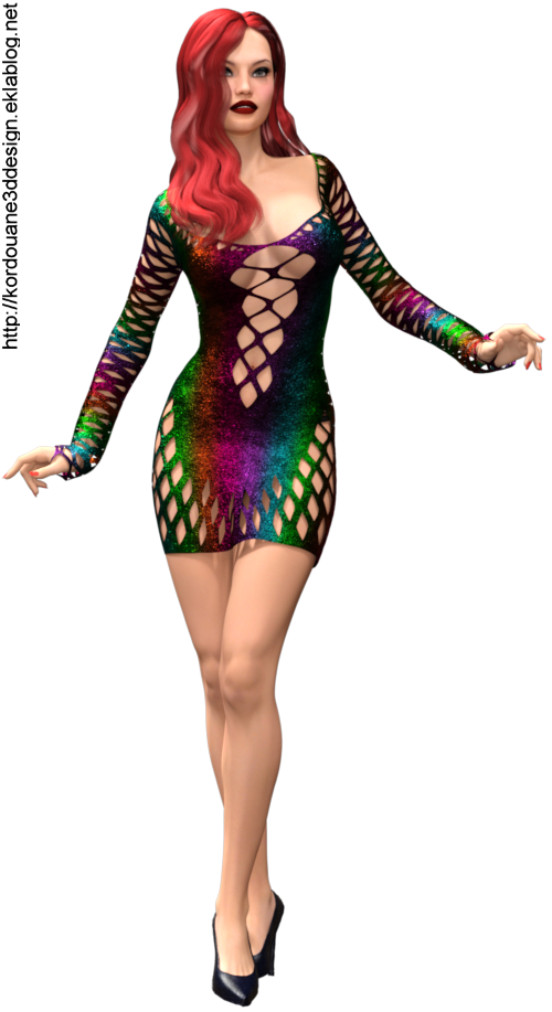 Tube de femme sexy en mini robe (render)