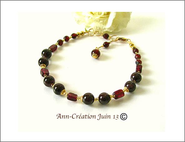 Bracelet Grenat rouge / Plaqué Or 14 kt Gold Filled - Red Garnet Bracelet / Gold Filled