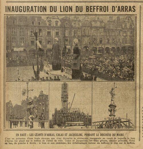 Inauguration du lion du Beffroi d'Arras (Excelsior, 27 août 1929)