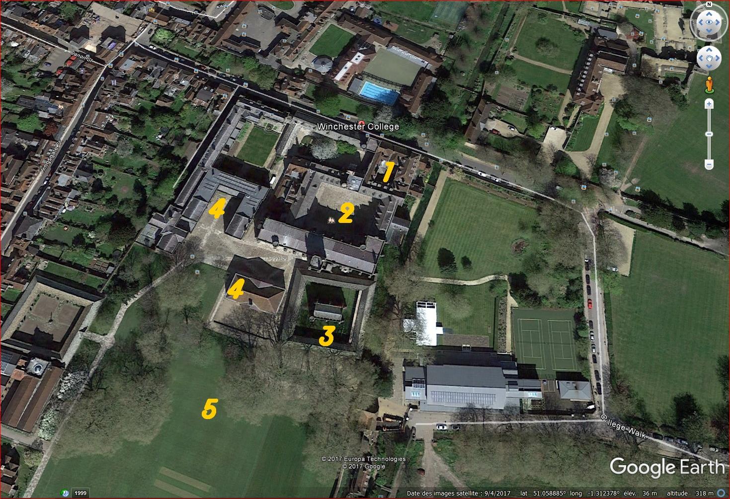 WINCHESTER College. Vue aérienne Google. 1) Bâtiments et cour d'entrée / 2) Chamber court. / 3)Fromond's Chantry / 4) Salles de classes / 5) parc.