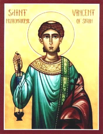 Saint Vincent, Diacre de Saragosse, martyr à Valence (+ 304)