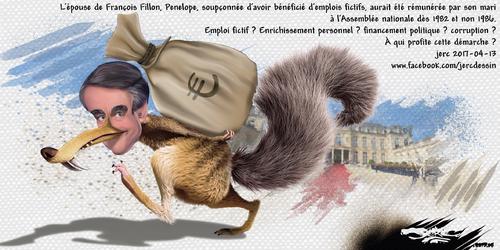 dessin de JERC jeudi 13 avril 2017 caricature François Fillon Fillon rend le pognon www.facebook.com/jercdessin