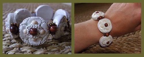 Bracelet assorti à une parure de mariage réalisé en pâte par Sylvie LE BRIGANT, créatrice de bijoux fantaisis.