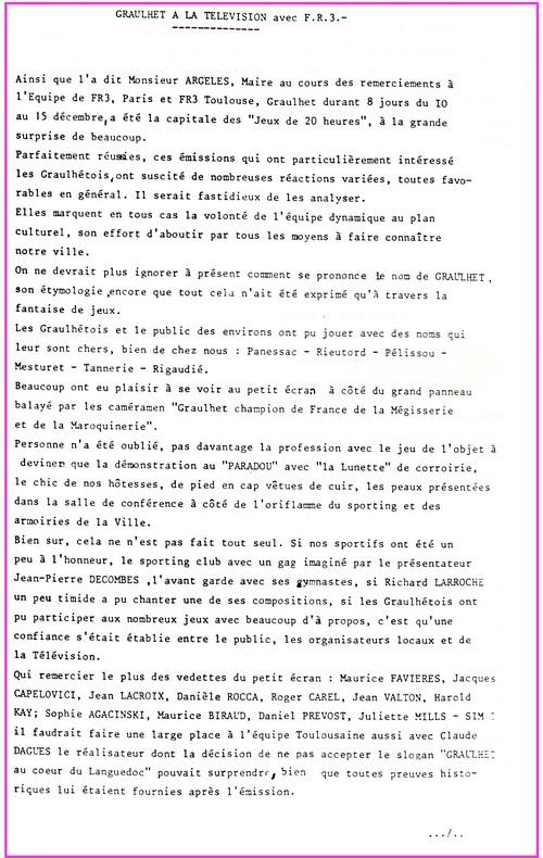 - 1979 : les Jeux de 20 heures à Graulhet