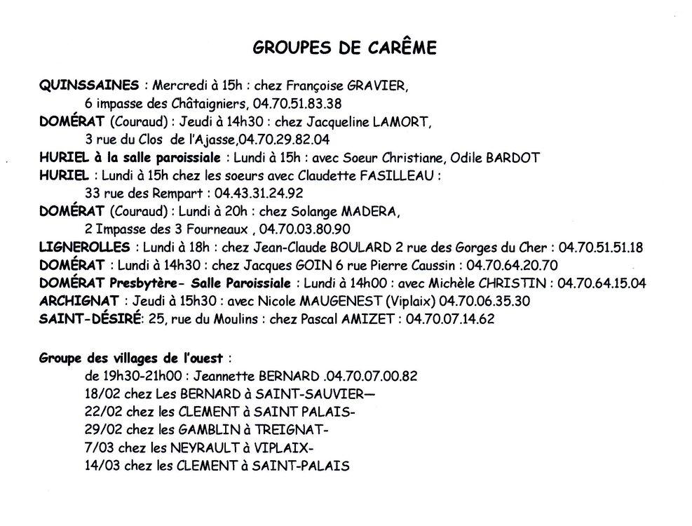 Groupes de Carême