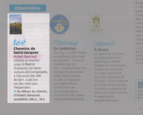 Livre présenté sur Pèlerin magazine