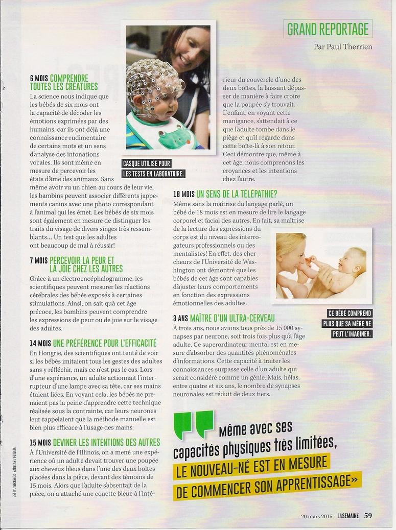 Grand Reportage:  Les superpouvoirs des bébés (2 pages)