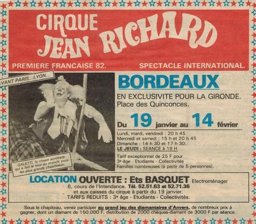 archives presse ( Sud Ouest)  Bordeaux 1982 du cirque Jean Richard  ( 1ère partie)