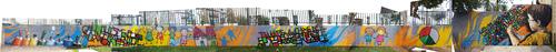 realisation d'une oeuvre (40mx2m) dans le parc de jeu devant la mairie de la commune de Sérignan (34) décembre 2017