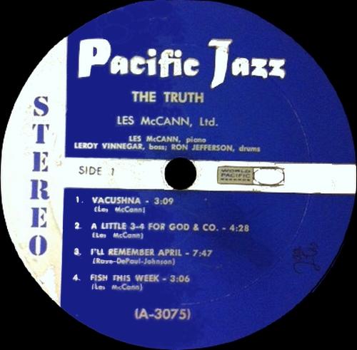 "Les McCann Ltd. : Album "" The Truth "" Pacific Jazz Records PJ-2 [ US ]"