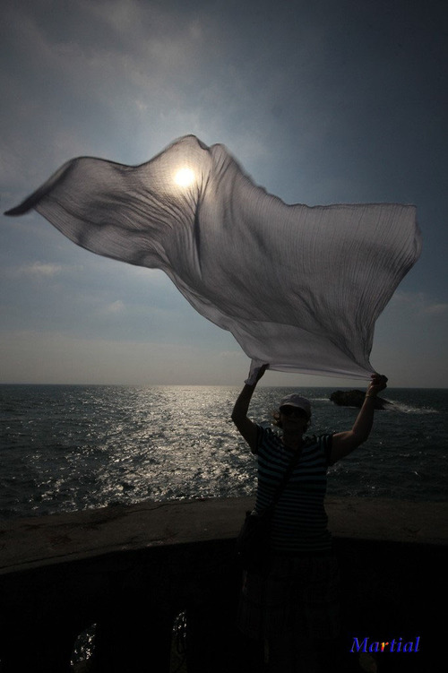 contre jour, photo, foulard