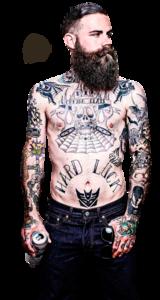 Tube Barbu tatoué
