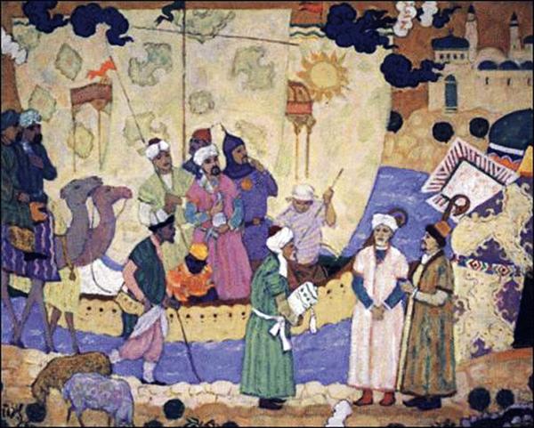 Expédition menée par Ibn Fadlan sur la Volga, illustration extraite de l'ouvrage : Les plus anciennes nouvelles arabes sur les Bulgares de la Volga, Ch. M. Fraehn, 1823.