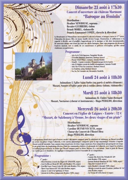 Programme de la Semaine Musicale de saint Vorles 2015, consacrée à Mozart