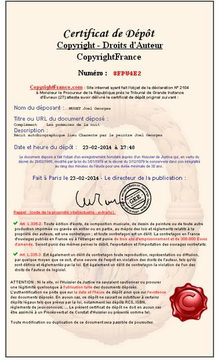 Certificat de dépot   Copyright France