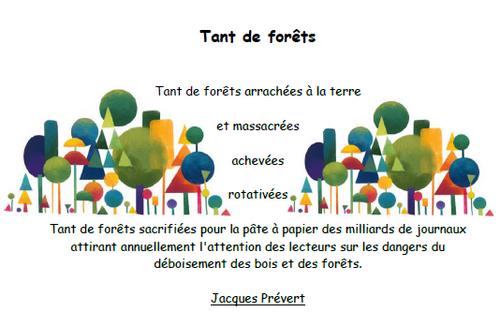 Tant de forêts, poésie, Jacques Prévert, ^écologie dévellopement durable, cycle 2, cycle3, dixmois, papier, préserver nature