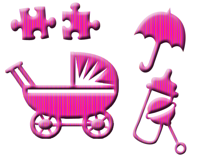 Gros kit Rose rayé pour enfant