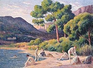 maximilien+luce,Women+Bathers+at+Saint-Tropez+1904+wilden