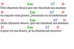 9- (comptine 3 accords D-A7-Em) Une chanson douce