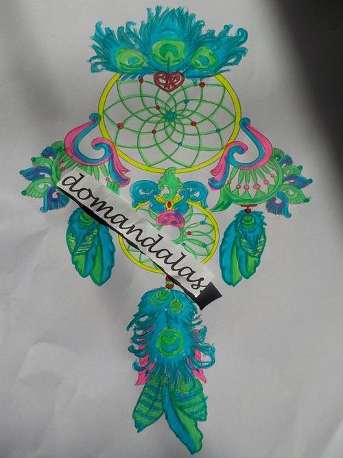 DOMANDALAS  attrape-rêves bleu et vert