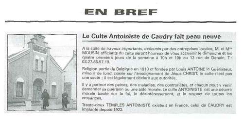 Culte Antoiniste de Caudry fait peau neuve (Dialogue n°13 1998)