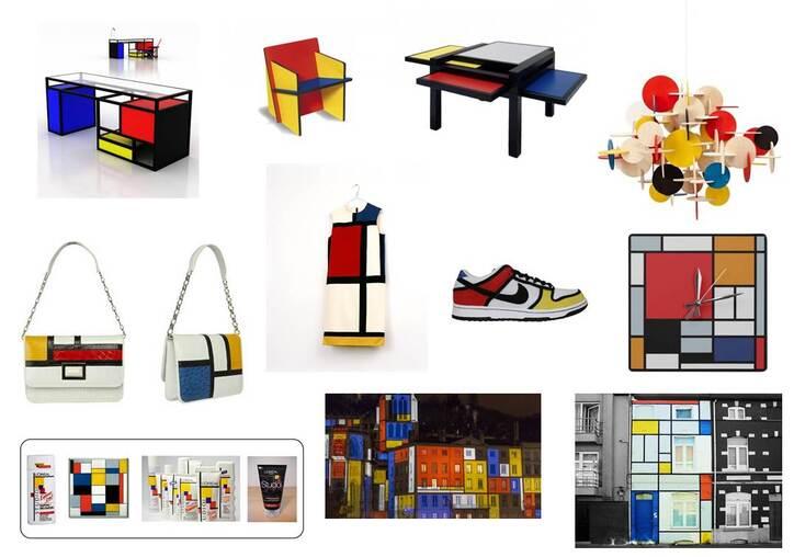 Variations abstraites en jaune, rouge, bleu