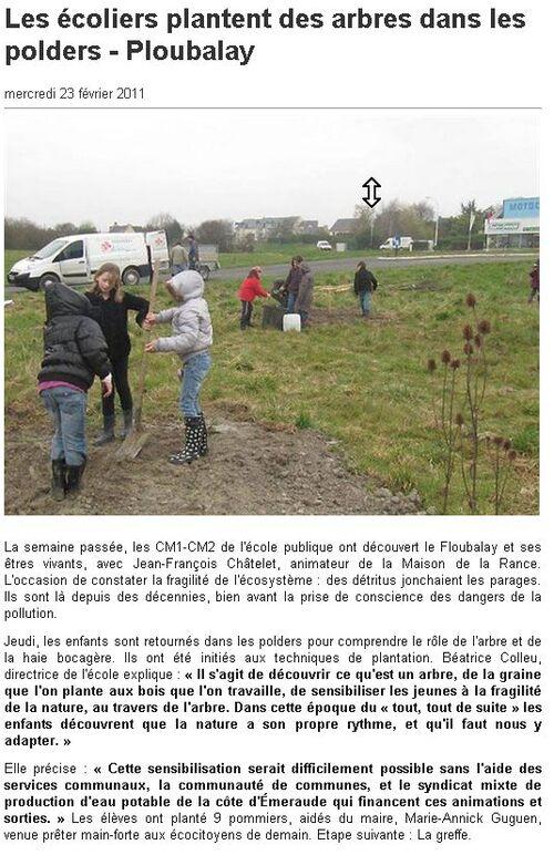 23/02/2011 - Les écoliers plantent des arbres dans les polders