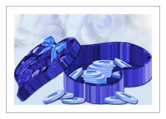 Pilules bleues et pilulier roses bleues