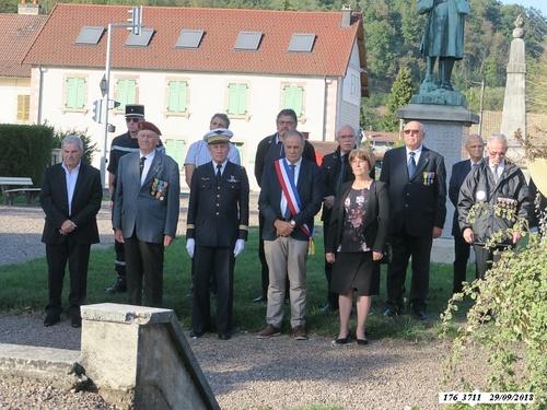 * 74 ème anniversaire de la libération de Ronchamps-Cérémonie du souvenir, le samedi 29 septembre 2018
