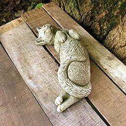 Grande statue de jardin en céramique Motif extérieur Sculpture Décoration  chat endormi 35 cm: Amazon.fr: Jardin