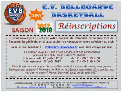 réinscription saison 2017 2018