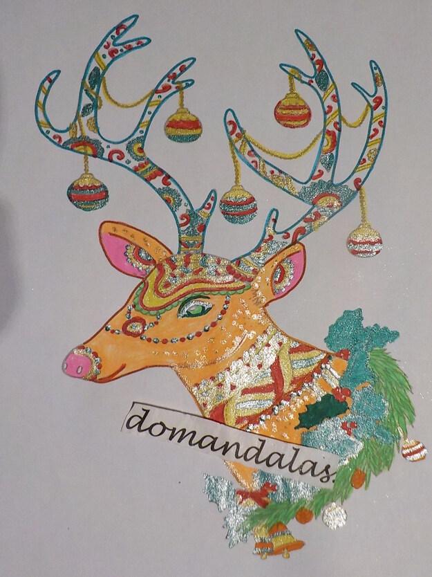 DOMANDALAS coloriage renne de Noël