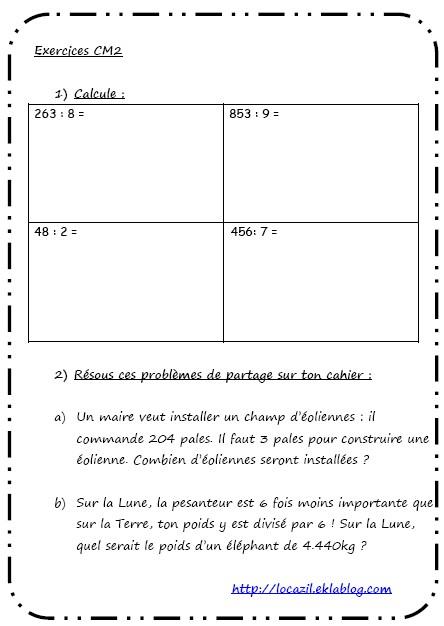 Division - Problèmes de partage cm2