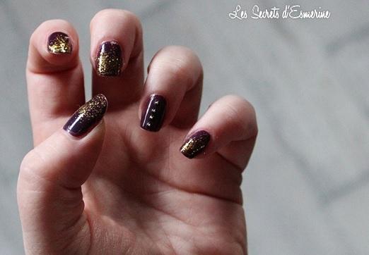 Une envie de perles et de paillettes pour les fêtes... (Tutoriel inside) nail art violet, les secrets d'esmerine
