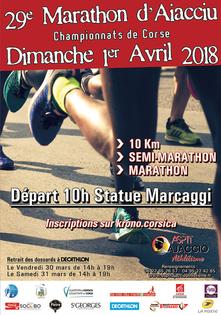 Marathon d'Ajaccio - Dimanche 1er avril 2018