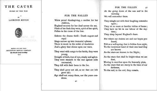 Le Jeune historien (angliciste). For the Fallen, de Laurence Binyon (1914)
