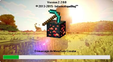 MineServ Creator 2.2 : Nouvelle fenêtre de démarrage