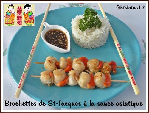 Brochettes de St-Jacques à la sauce asiatique