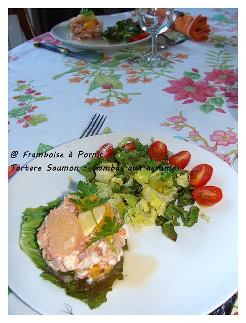 Tartare de saumon gambas aux agrumes