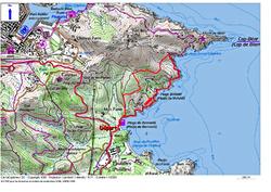 Le Circuit de l'Anse de Paulilles depuis la plage de Bernardi (Port-Vendres).