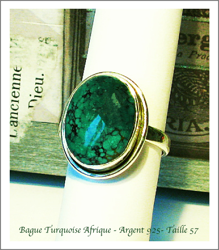 Bague turquoise d'Afrique / African Turquoise ring / Argent Sterling Silver 925
